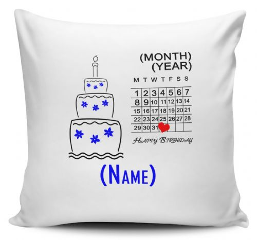 Personalised Birthday Chart (Blue) Cushion Cover